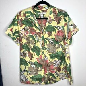 🦋3/$15 Roamans Yellow Button Down Shirt Size 16W